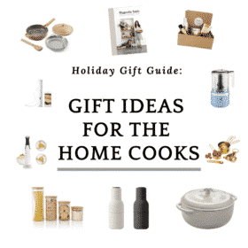 "collage of photos with a text that says ""gift ideas for the home cooks"""