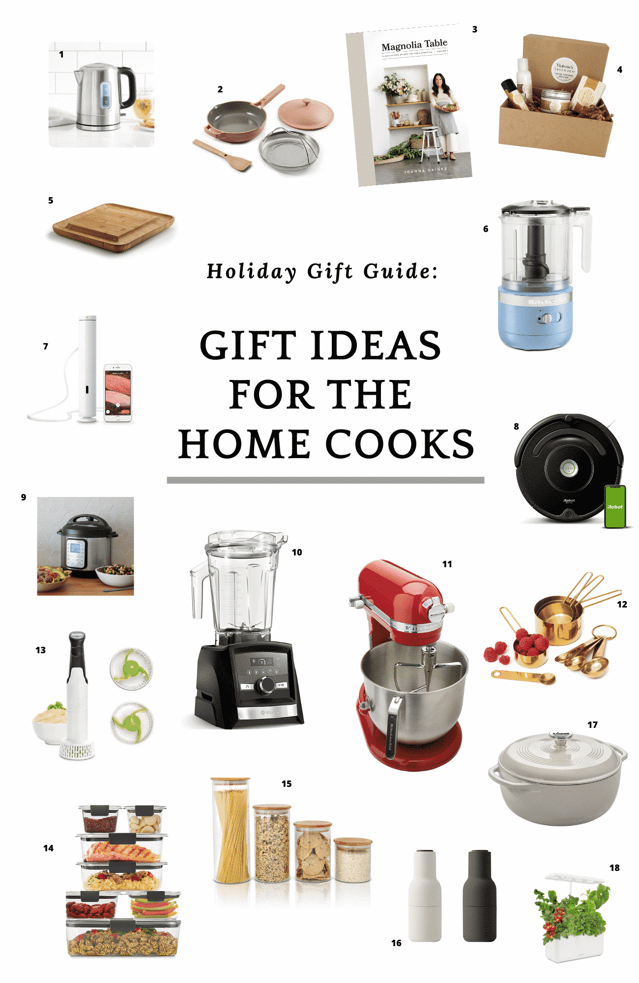 """collage of photos with a text that says \""""gift ideas for the home cooks\"""""""