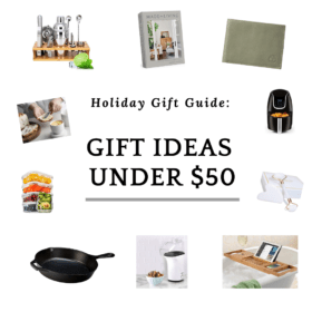 "collage of photos with a text that says ""gift ideas under 50"""
