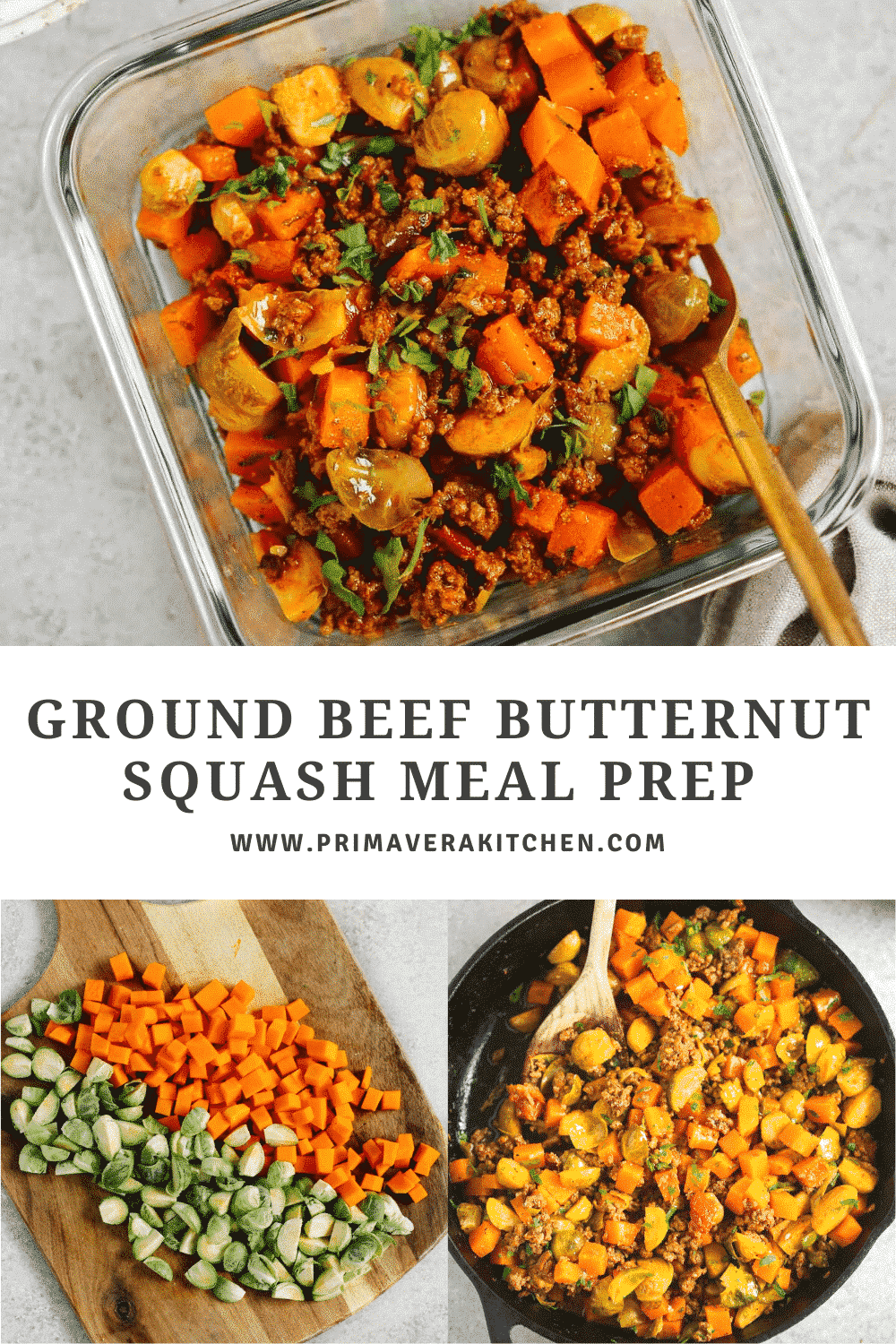 """collage of photos with a text that says \""""Ground Beef Butternut Squash Meal Prep\"""""""