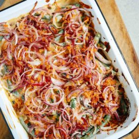 Overhead image of Healthier Green Bean Casserole Recipe inside of a baking pan.