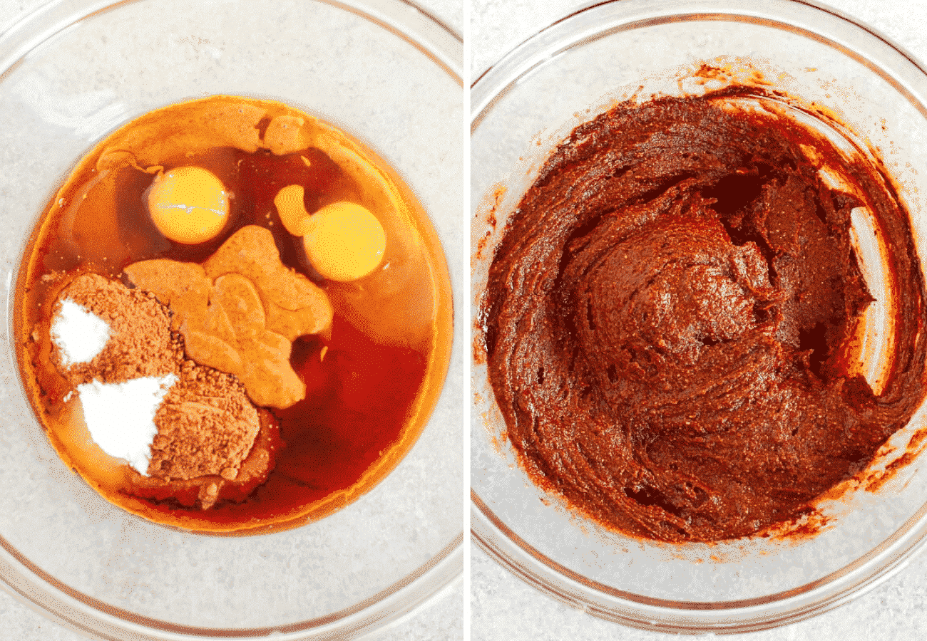 Instructional photos showing ingredients added to a glass bowl and then mixed together to make the brownie batter.