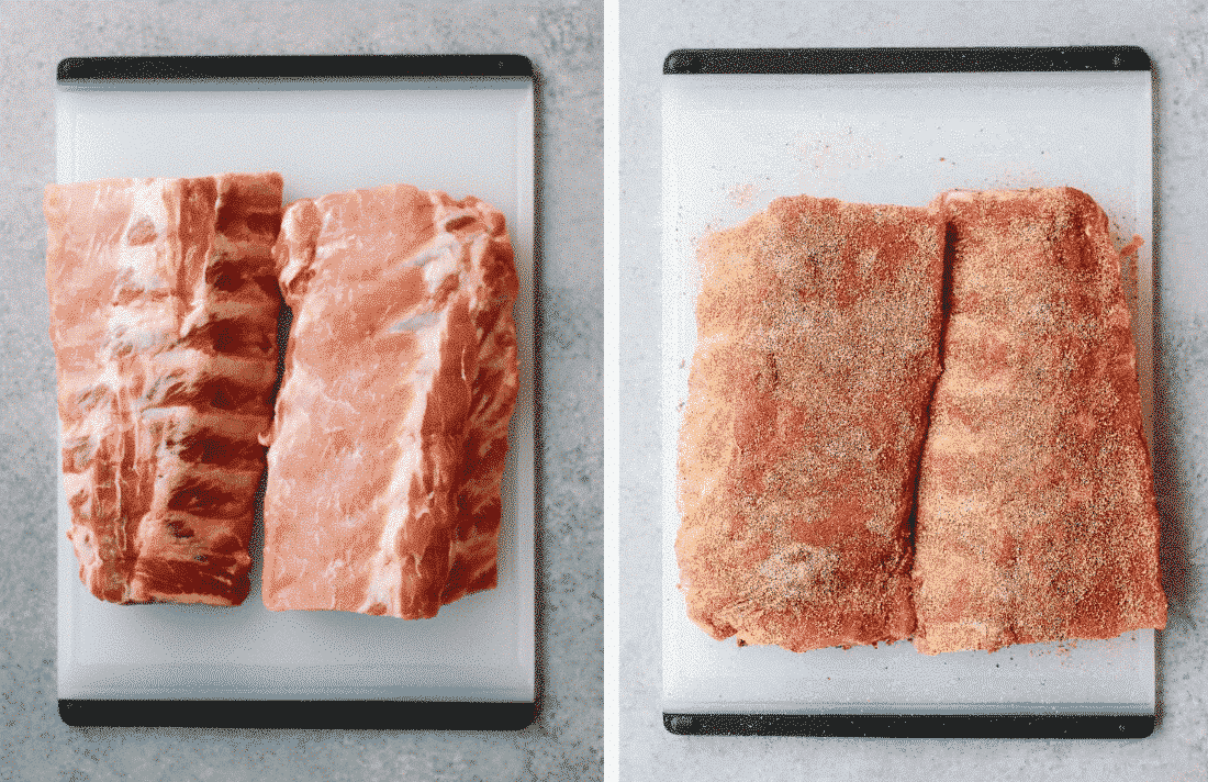 Set of two photos showing ribs before and after they've had dry rub added to them.