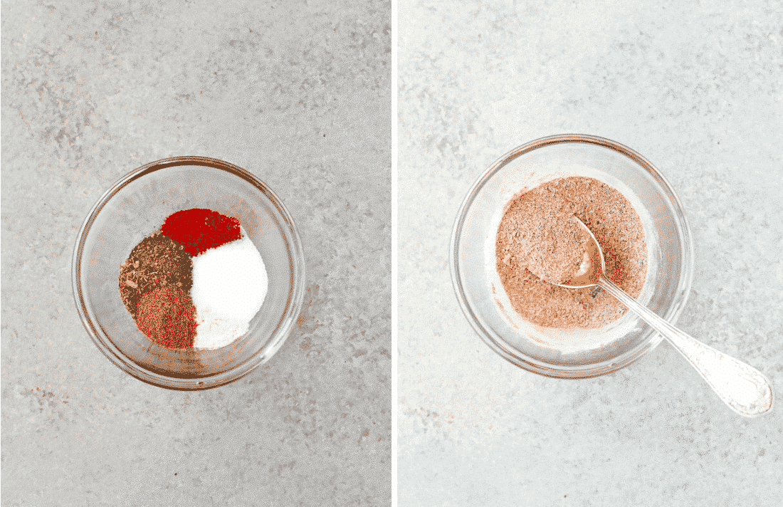 Set of two photos showing spices being mixed together.