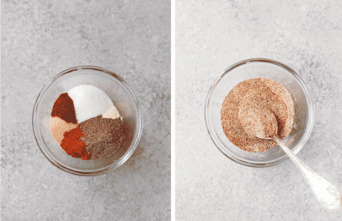 Set of two photos showing the dry rub for ribs and the spices being mixed together.