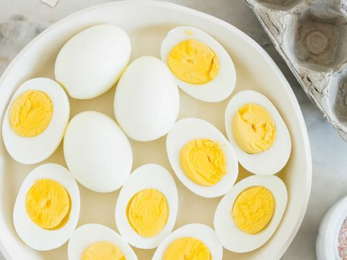 overhead view of a plate with hard boiled eggs