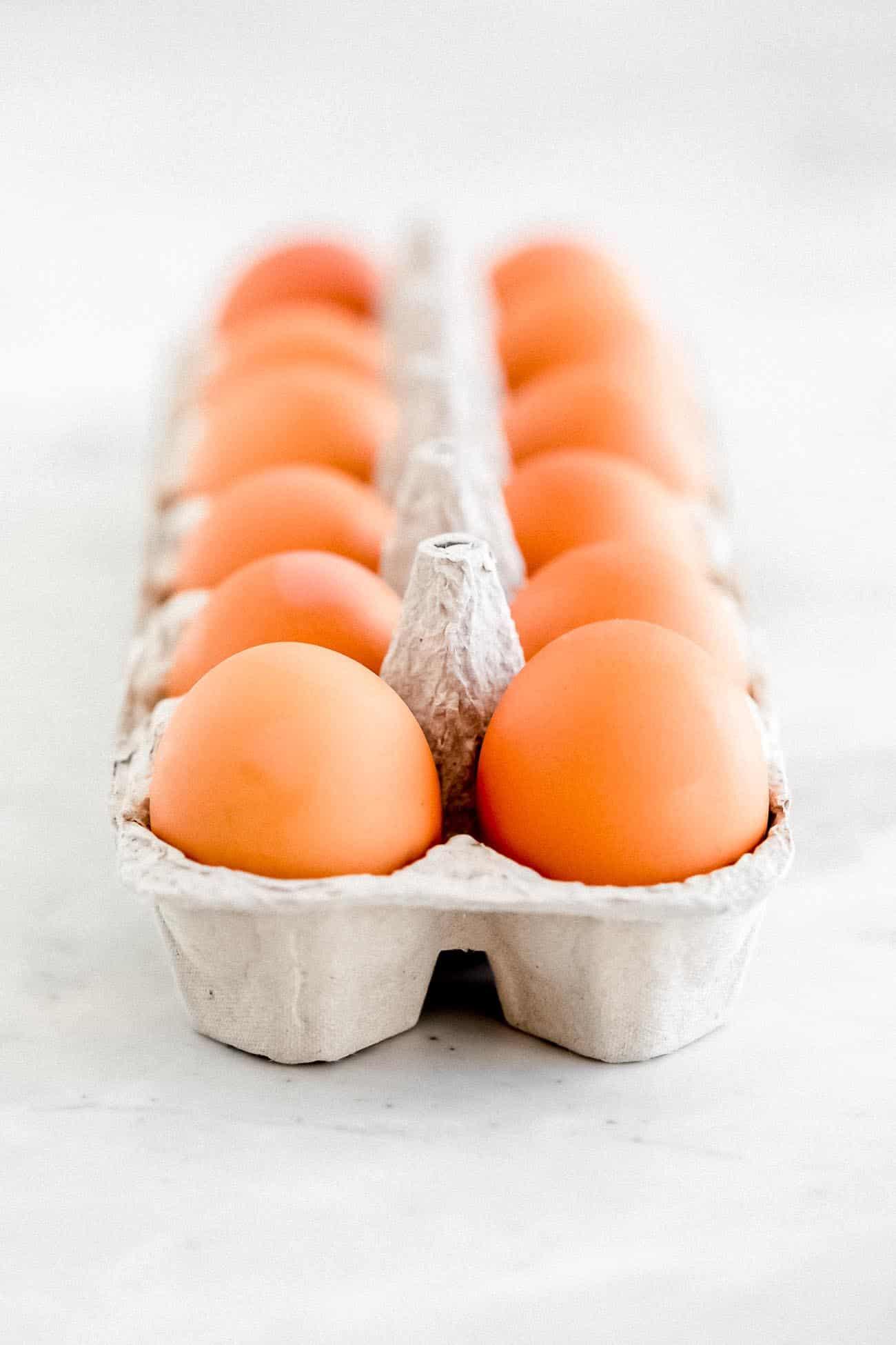 Eggs in a carton.