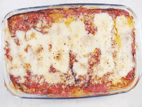 close up of eggplant lasagna