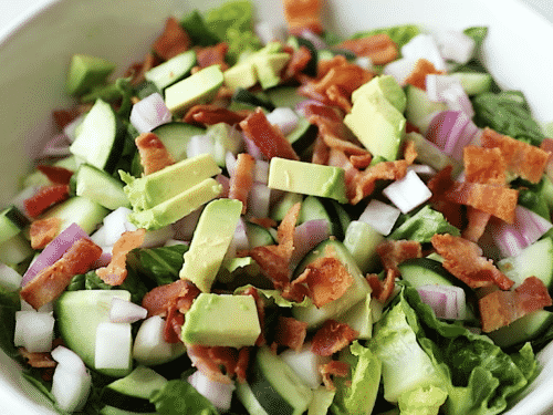 close up of chopped chicken salad
