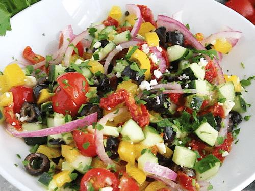 closeup of a bowl with mediterranean salad
