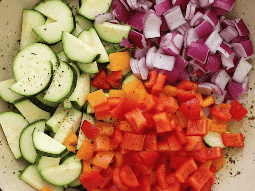overhead view of veggies in a skillet