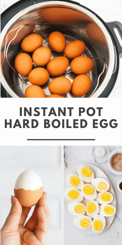 "collage of three hard boiled egg photos and a text that says ""Instant Pot Hard Boiled Egg\"""