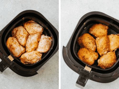 a set of two overhead view photos showing raw chicken thighs on the left and cooked chicken thighs on the right inside of an air fryer pot