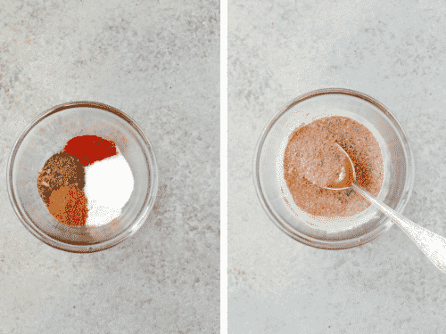 set of two overhead photos of small glass bowl containing dried spices