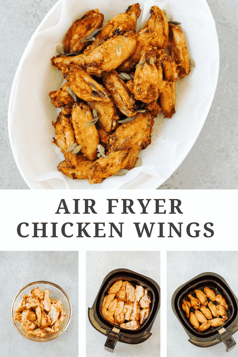 titled photo collage (and shown):Air Fryer Chicken Wings