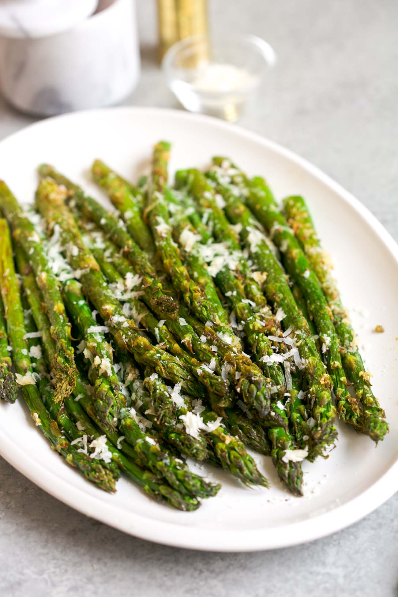 overhead view of air fryer asparagus