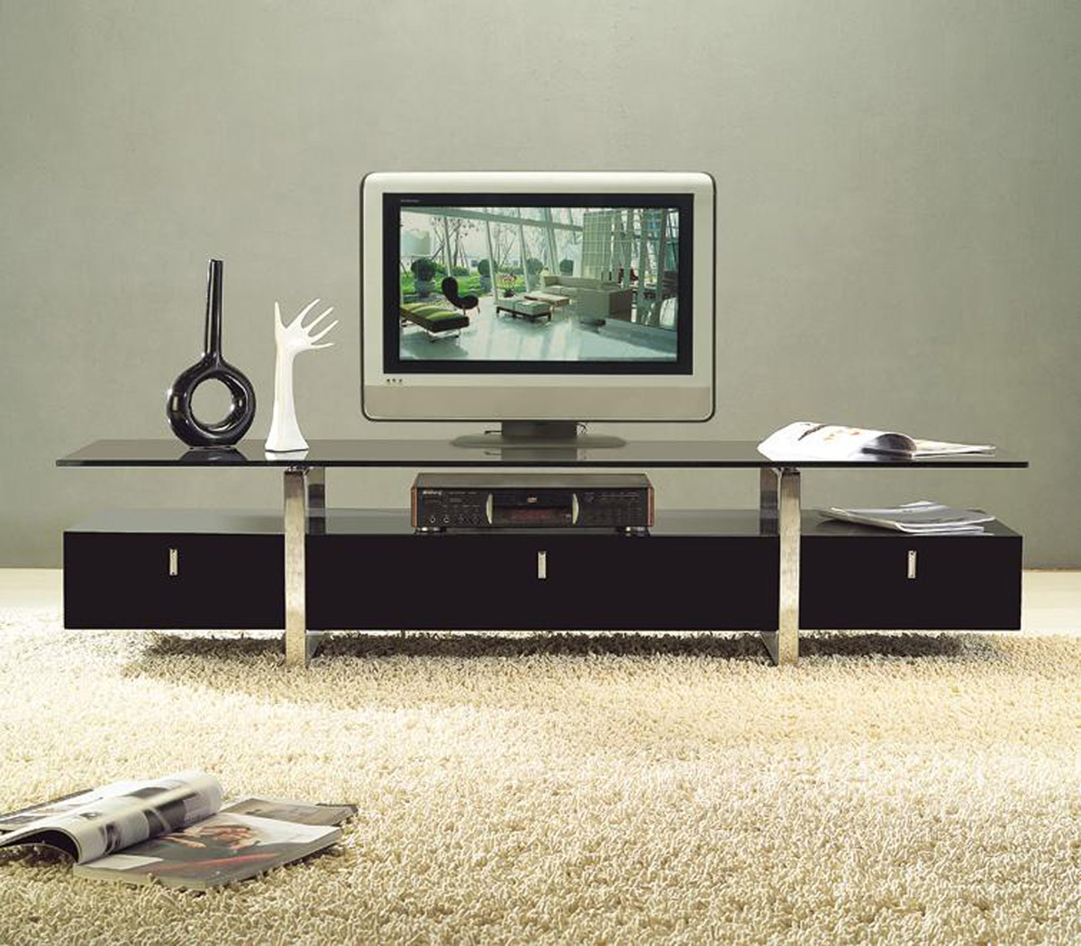 clear lined design contemporary brown color tv stand with glass top