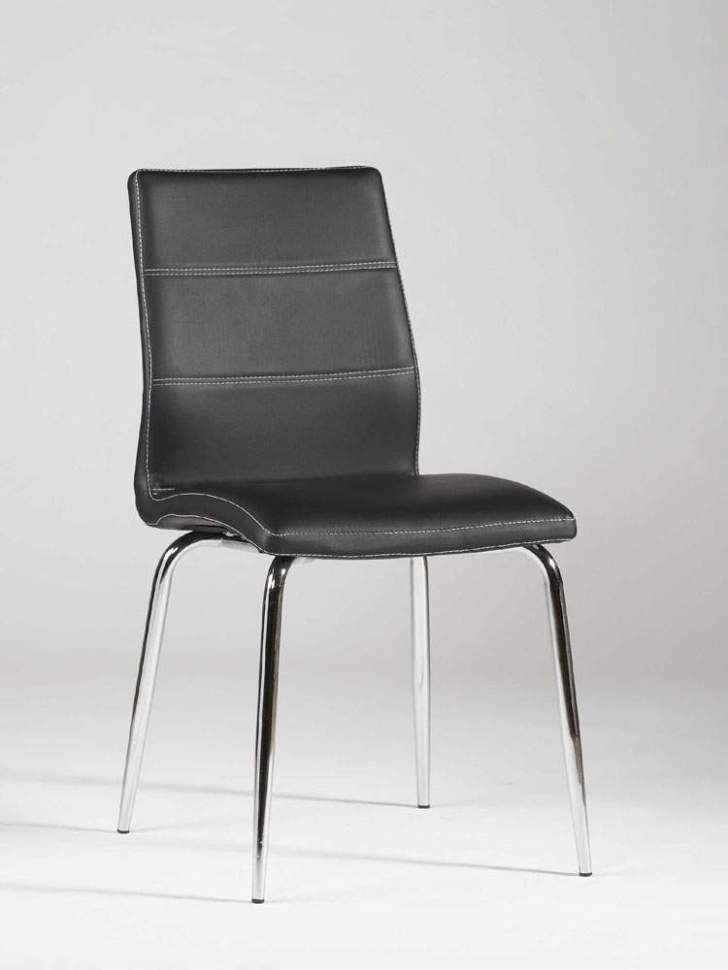 Ultra Contemporary Shaped Dining Chair Black Leather Stitching