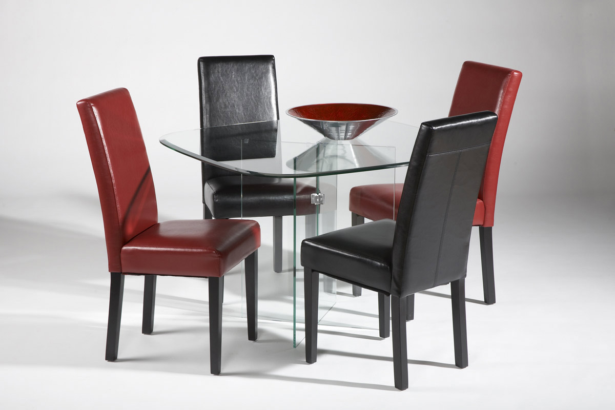 Red Or Black Leather Chairs With Straight Back San Jose