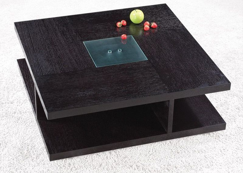 square black wood coffee table with glass center