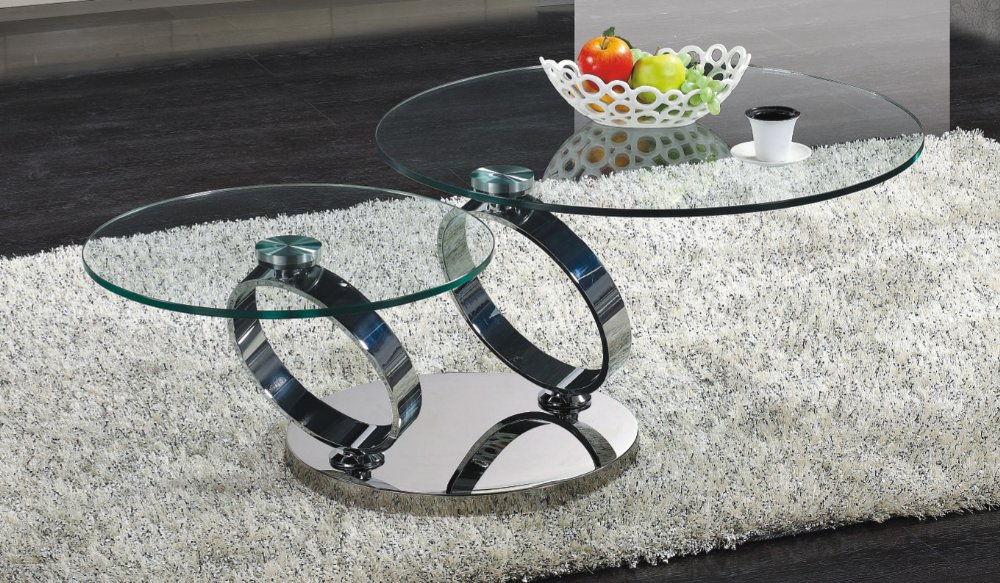 contemporary round coffee table with two levels glass