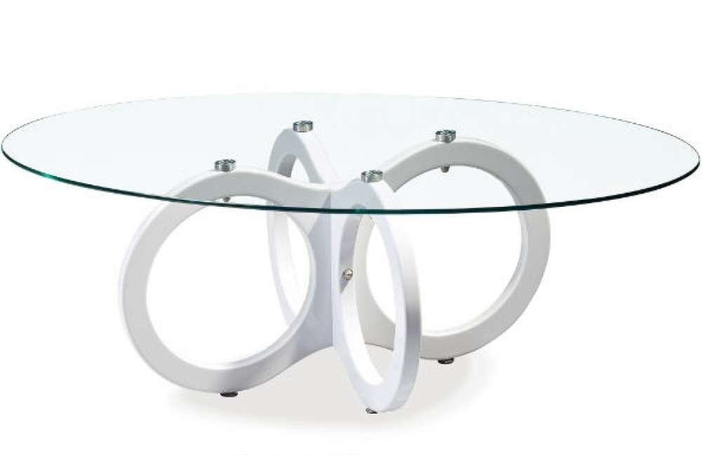 oval glass top coffee table with white ring base