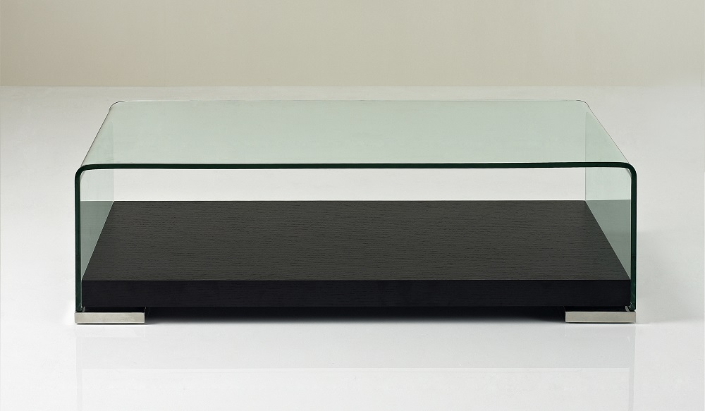 clear tempered glass coffee table with dark oak wood base