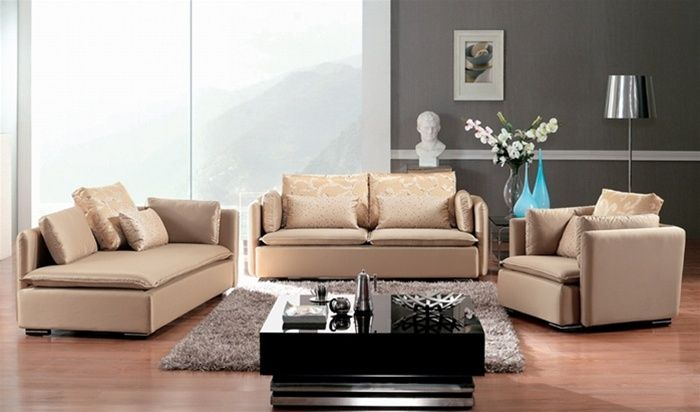 Champagne Color Microfiber Three Piece Sofa Set Washington DC D503AOHE