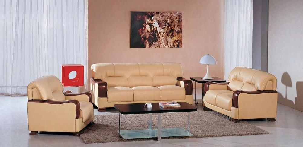 Modern Franco Bonded Leather Sofa Set Brown Beige Gallery Image : franco leather reclining sofa - islam-shia.org