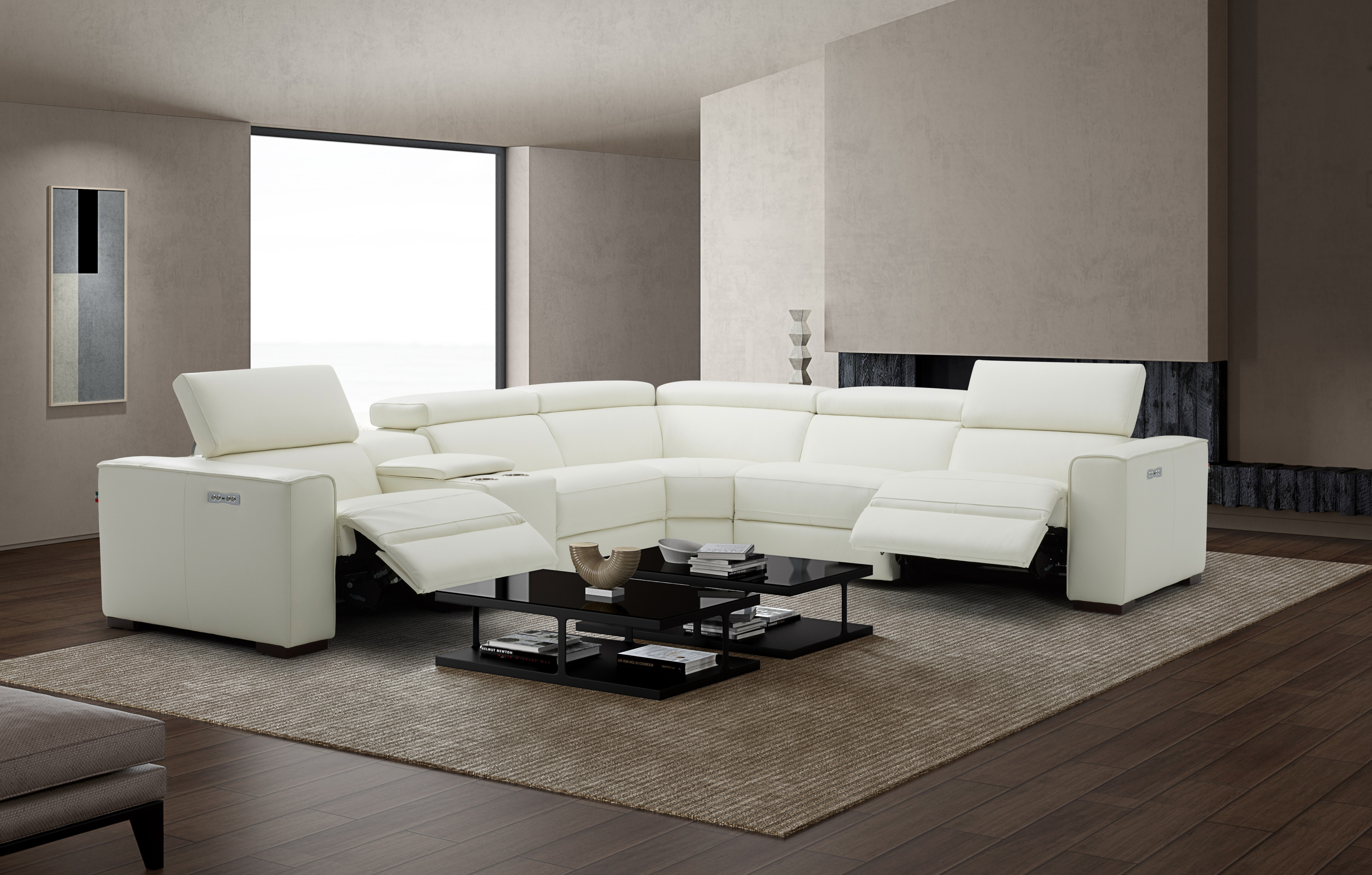 breathtaking white sectional with italian leather