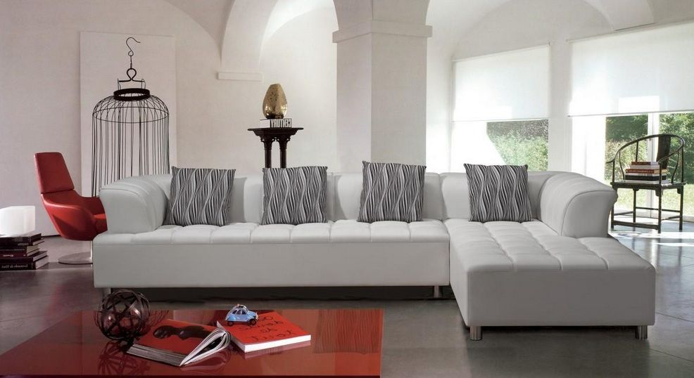 white tufted contemporary bonded leather sectional sofa