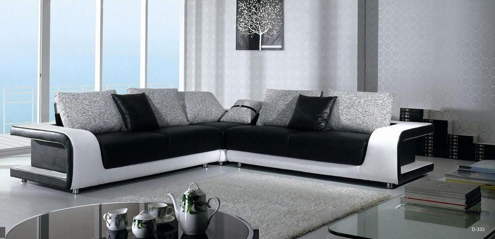 elegant quality leather l shape sectional with pillows