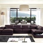 Brown Leather Sectional Sofa With Built In Coffee Table And Lights Charlotte North Carolina Igvt132v