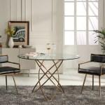 Elegant Round Tampered Glass Rose Gold Base Dining Table Baltimore Maryland Vig Rosario