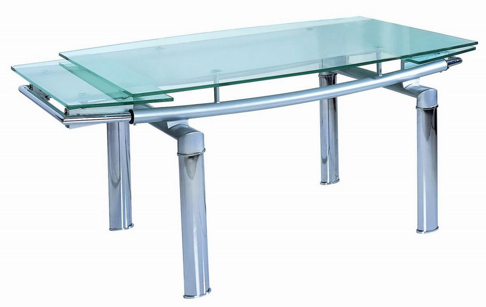 Contemporary 12 Mm Tempered Glass Expandable Table Des