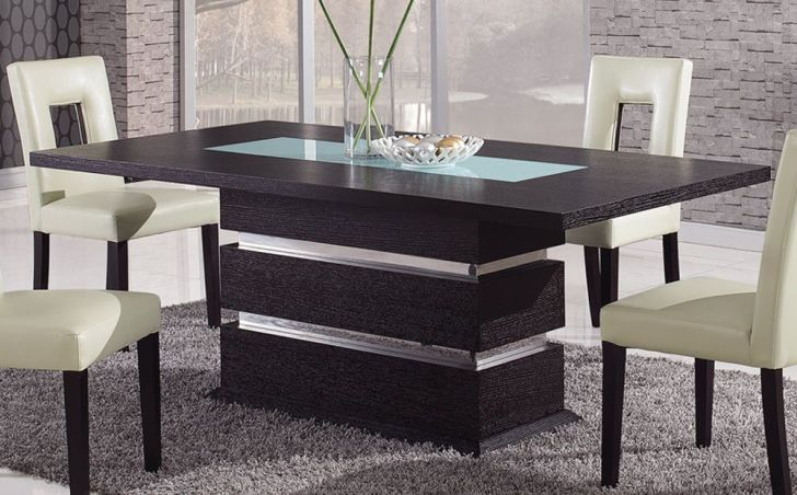Brown Contemporary Pedestal Dining Table Glass Inlay Naperville