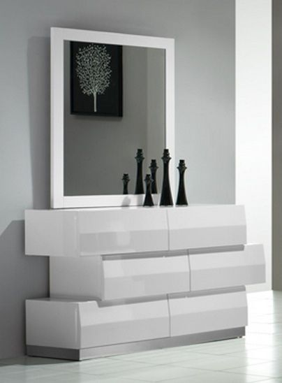 Milan Contemporary 6 Drawer Dresser In White Lacquer