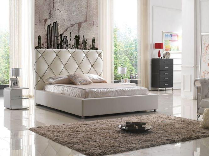 Elegant Leather High End Platform Bed With Led Light Evansville