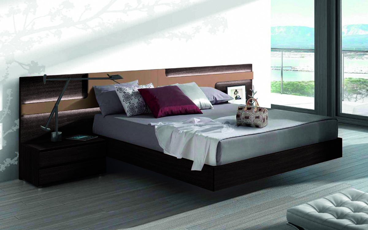 Lacquered Made in Spain Wood Elite Platform Bed with Large Headboard     Modern Platform Beds  Master Bedroom Furniture