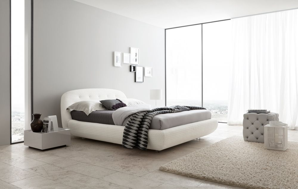 lacquered made in italy leather high end platform bed with rounded headboard