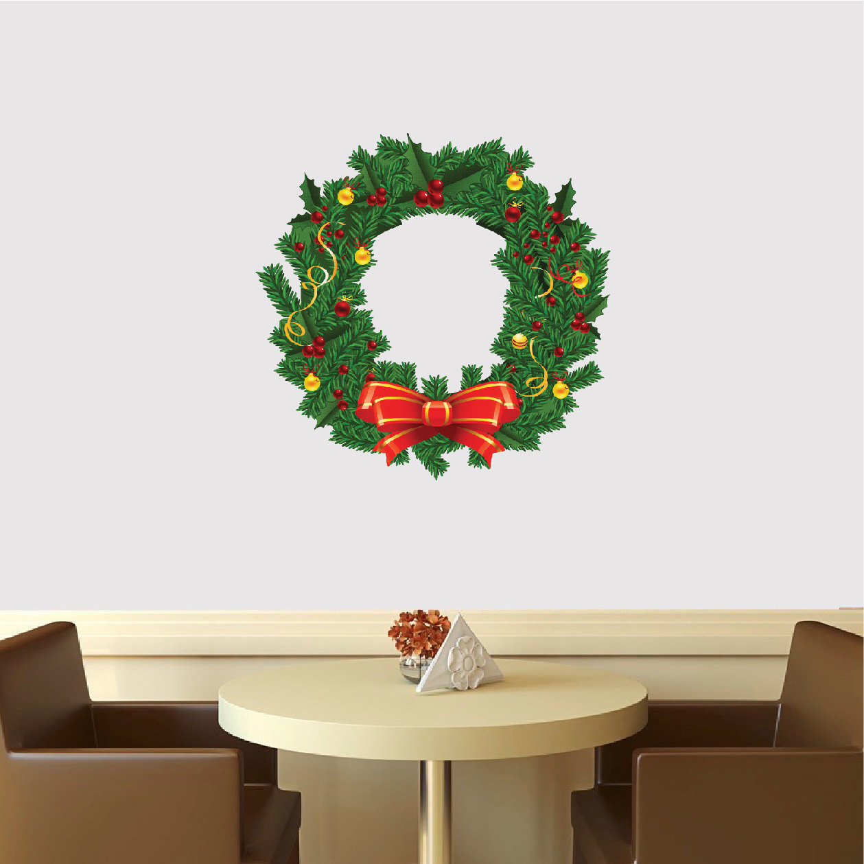Christmas Wreath Wall Decal Mural Christmas Wreath Wall