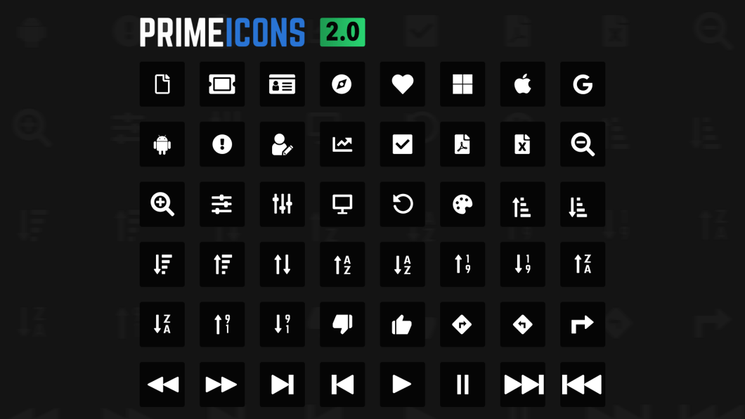 PrimeIcons 2 0 0 Brings 48 New Icons   PrimeFaces