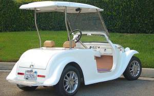 California Roadster White with Roof rear view