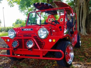 Moke Red with Surfboards and Custom Rims