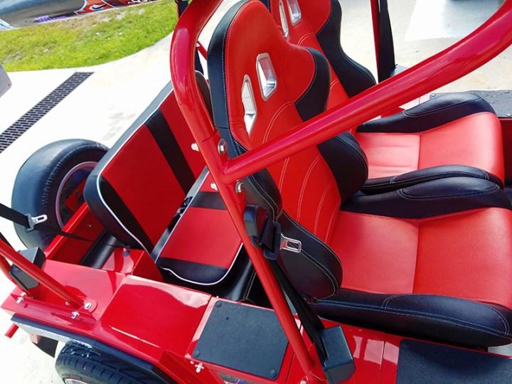 seating area in a moke golf car