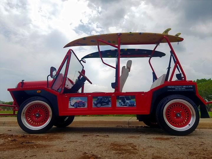 side view of a moke golf car
