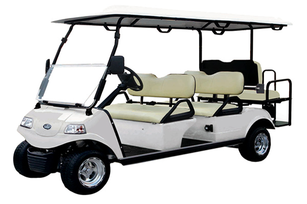 6 person white evolution golf car
