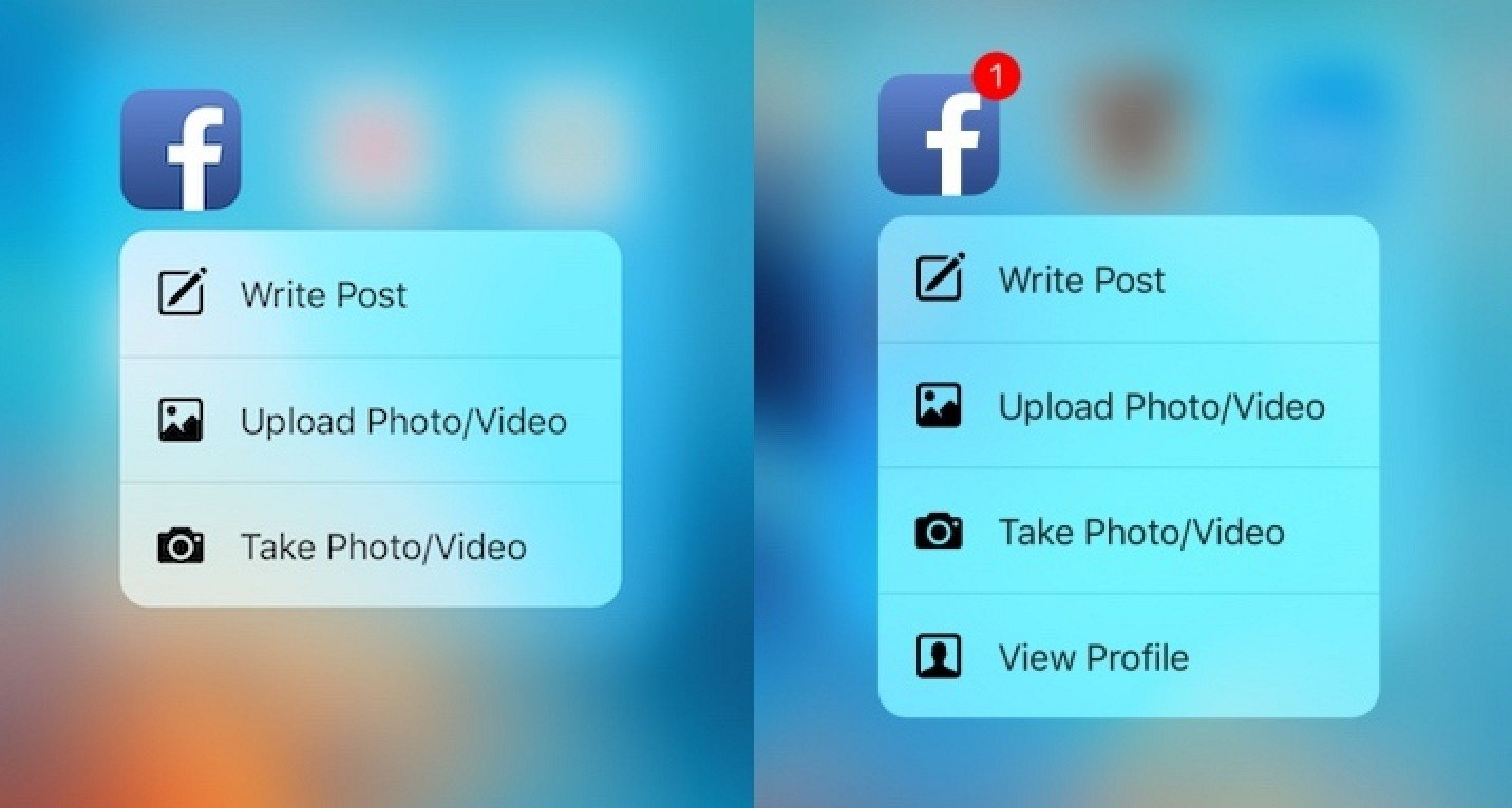 Facebook Quick Actions - iPhone7