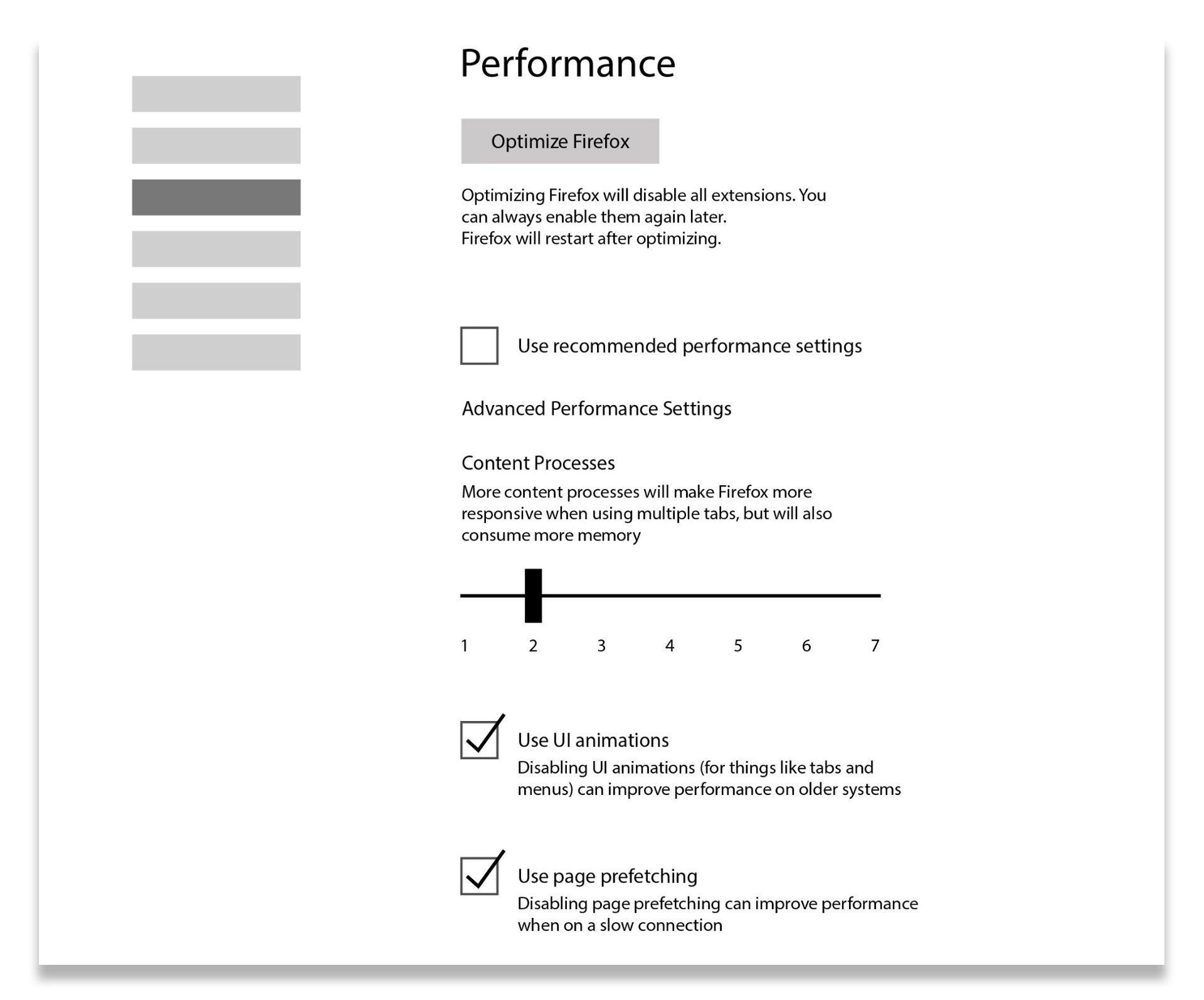 Mozilla Firefox - Performance Tab Concept UI