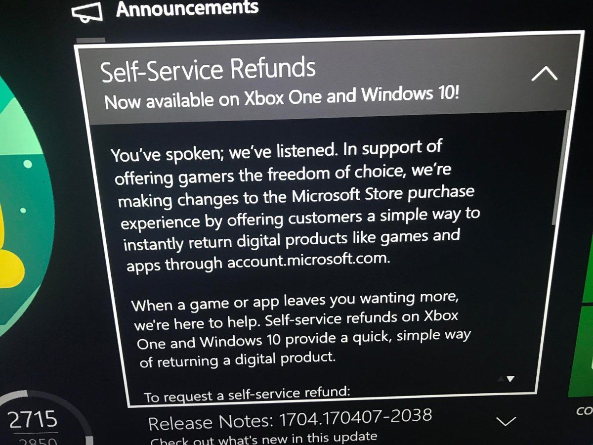 Xbox Store - Self-Service Refunds